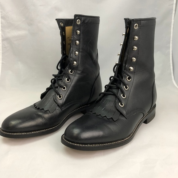 c53baba6717 Like New Justin Black Leather Lace up Roper Boots
